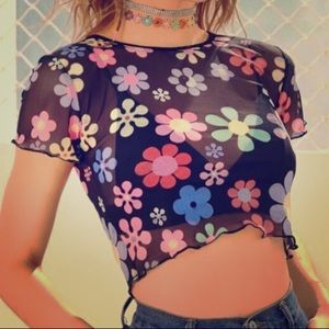 NWT-  90s Style Sheer Crop Top